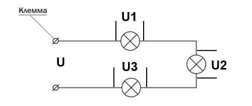 Последовательное соединение трех ламп в гирлянду