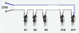 Схема елочной гирлянды из миниатюрных ламп накаливания