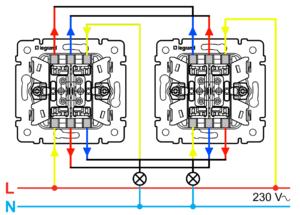 Схема подключения проходного двухклавишного фото 456
