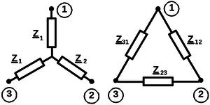 Соединения резисторных цепей в треугольник