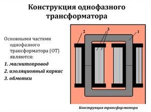 Однофазный трансформатор из чего состоит
